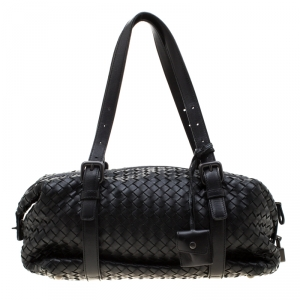 Bottega Veneta Black Intrecciato Leather Montaigne Satchel