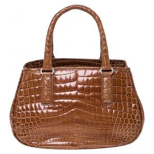 Bottega Veneta Brown Crocodile Satchel