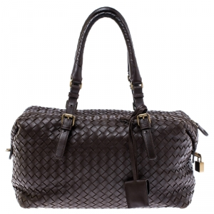 Bottega Veneta Dark Brown Intrecciato Leather Montaigne Satchel