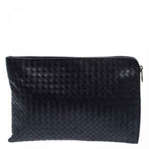 Bottega Veneta Dark Grey Intrecciato Leather Pouch