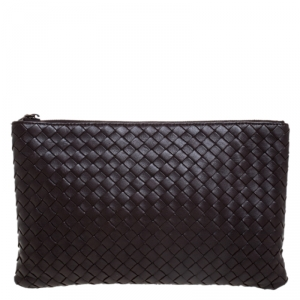 Bottega Veneta Dark Brown Intrecciato Leather Pouch