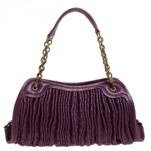 Bottega Veneta Purple Pleated Intrecciato Leather Satchel