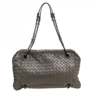 Bottega Veneta Olive Green Intrecciato Nappa Leather Duo Shoulder Bag