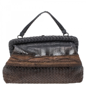 Bottega Veneta Black/Brown Python Frame Top Handle Bag