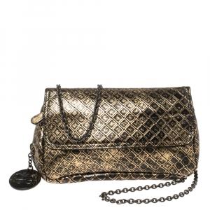 Bottega Veneta Gold/Black Diamond Embossed Leather Zip Detail Crossbody Bag
