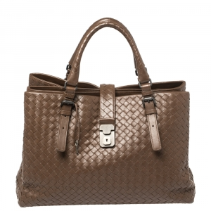Bottega Veneta Dark Brown Intrecciato Leather Large Roma Tote