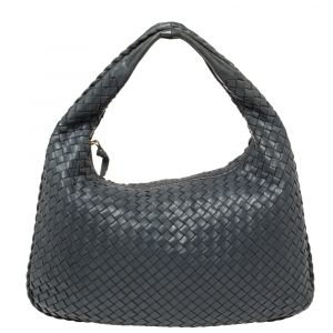 Bottega Veneta Dark Blue Intrecciato Leather Small Veneta Hobo
