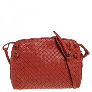 Bottega Veneta Orange Intrecciato Leather Nodini Crossbody Bag