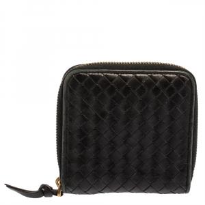 Bottega Veneta Black Intrecciato Leather Zip Around Wallet