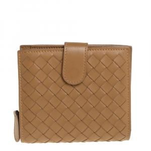 Bottega Veneta Brown Intrecciato Leather French Flap Wallet