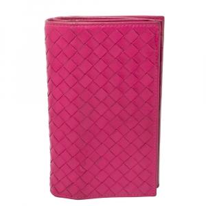 Bottega Veneta Fuchsia Intrecciato Leather Bifold Wallet