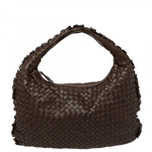 Bottega Veneta Brown Perforated Intrecciato Leather Veneta Hobo