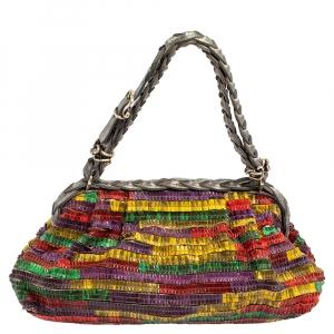 Bottega Veneta Multicolor Lizard Ruffles Limited Edition 135/200 Frame Bag