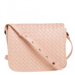Bottega Veneta Peach Intrecciato Leather Crossbody Bag