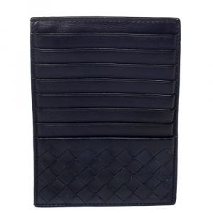 Bottega Veneta Blue Intrecciato Leather Card Case