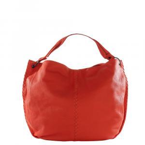 Bottega Veneta Orange Grained Leather Shoulder Bag