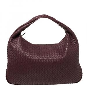 Bottega Veneta Plum Intrecciato Leather Large Veneta Hobo