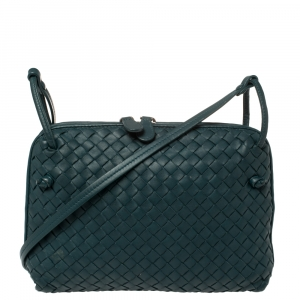 Bottega Veneta Deep Green Intrecciato Leather Nodini Crossbody Bag