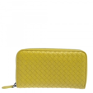 Bottega Veneta Yellow Intrecciato Leather Zip Around Wallet