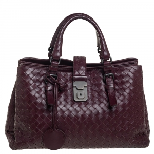 Bottega Veneta Burgundy Intrecciato Leather Small Roma Tote