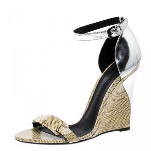 Bottge Veneta Cream/Silver Lizard and Leather Wedge Sandals Size 40 - used