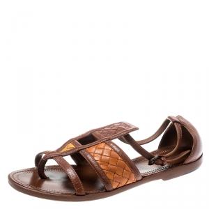 Bottega Veneta Brown Intrecciato Gladiator Sandals Size 36.5 - used