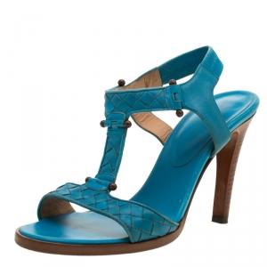 Bottega Veneta Blue Intrecciato Leather T Strap Sandals Size 37 - used