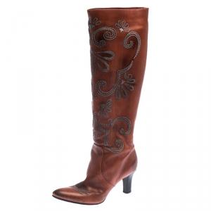 Bottega Veneta Cognac Embroidered Leather Knee Length Boots Size 39 - used