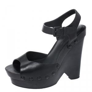 Bottega Veneta Black Leather Open Toe Ankle Strap Wedge Sandals Size 37.5