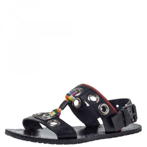 Bottega Veneta Black Leather Grommet Slingback Flat Sandals Size 36