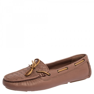 Bottega Veneta Pink Intrecciato Leather Bow Slip On Loafers Size 40.5