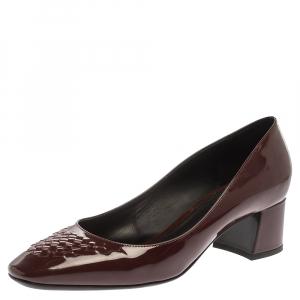 Bottega Veneta Maroon Patent Leather Intrecciato Detail Block Heel Pumps Size 38