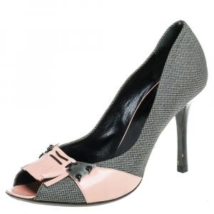 Bottega Veneta Black/Beige Canvas And Leather Fringe Detailed Peep Toe Pumps Size 39.5