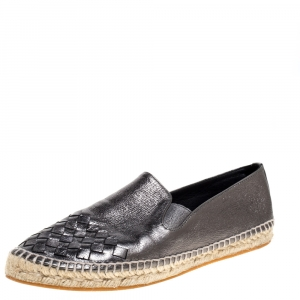 Bottega Veneta Metallic Intrecciato Leather Slip On Espadrille Flats Size 39