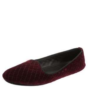 Bottega Veneta Burgundy Velvet Smoking Slip On Loafers Size 39.5