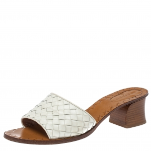 Bottega Veneta White Intrecciato Leather Slide Sandals Size 39.5