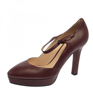 Bottega Veneta Burgundy Leather Mary Jane Platform Pumps Size 38