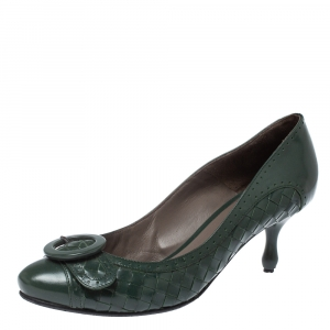 Bottega Veneta Intrecciato Green Leather Buckle Detail Pumps Size 39