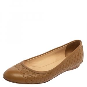 Bottega Veneta Brown Intrecciato Leather Ballet Flats Size 37 - used