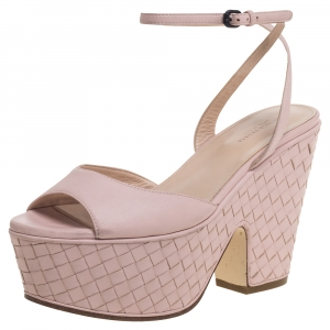 Bottega Veneta Pink Leather Platform Ankle Strap Sandals Size 36.5 - used