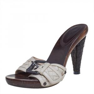 Bottega Veneta White Leather Intrecciato Slide Sandals Size 37.5 - used