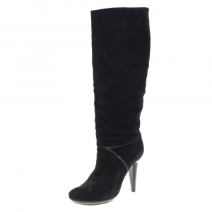 Bottega Veneta Black Suede Knee High Boots Size 38.5