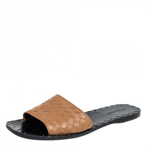 Bottega Veneta Brown Intrecciato Leather Flat slides Size 37.5