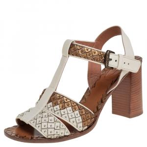 Bottega Veneta Cream/Gold  Leather Intrecciato Ankle Strap Block Heel Sandals Size 40