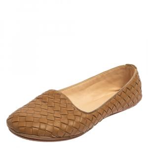 Bottega Veneta Beige Intrecciato Leather Smoking Slippers Size 37