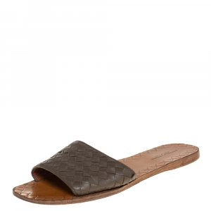 Bottega Veneta Grey Intrecciato Leather Flat Slides Size 37