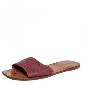 Bottega Veneta Burgundy Intrecciato Leather Flats Size 39.5