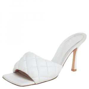 Bottega Veneta White Leather BV Lido Slide Sandals Size 38