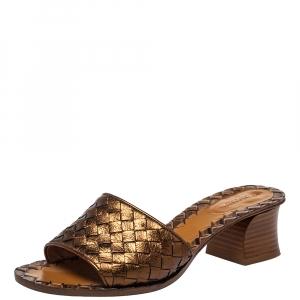 Bottega Veneta Metallic Brown Intrecciato Leather Ravello Slide Sandals Size 37