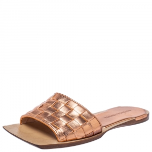 Bottega Veneta Metallic Rose Gold Leather Slide Sandals Size 38